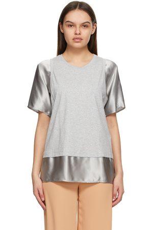 MM6 MAISON MARGIELA Dames T-shirts - Grey & Taupe Satin Sleeve T-Shirt