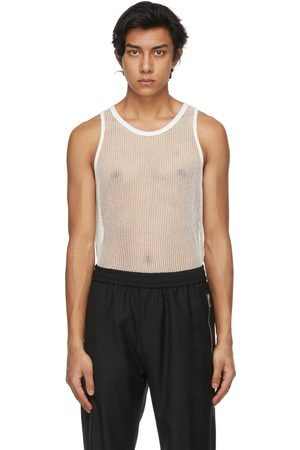 Givenchy Heren Tops - Off-White Metallized Mesh Slim Fit Tank Top