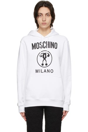 Moschino Dames Hoodies - White Double Question Mark Hoodie