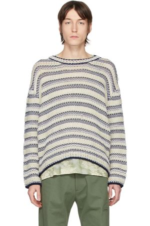 Loewe Off-White & Navy Wool Striped Sweater