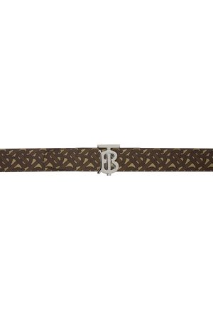 Burberry Heren Riemen - Reversible Brown & Black E-Canvas Monogram Belt