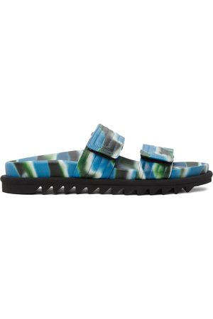 DRIES VAN NOTEN Blue Camo Slide Sandals