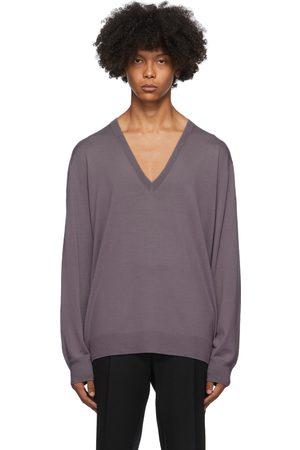 DRIES VAN NOTEN Heren Sweaters - Purple Relaxed V-Neck Sweater