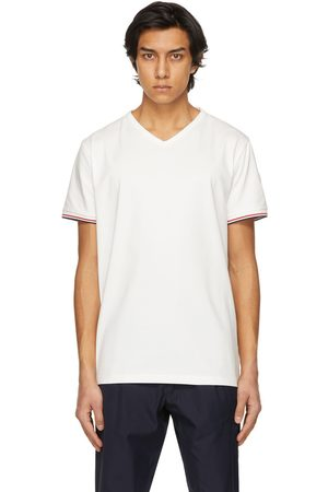 Moncler White Striped Cuffs V-Neck T-Shirt