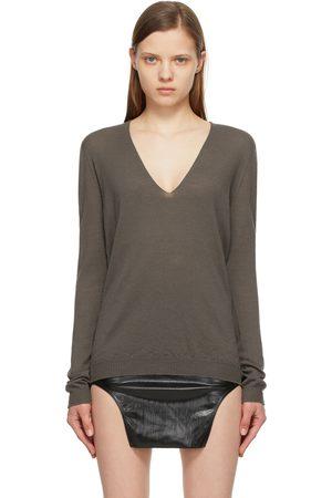 Rick Owens Dames Sweaters - Grey Merino V-Neck Sweater