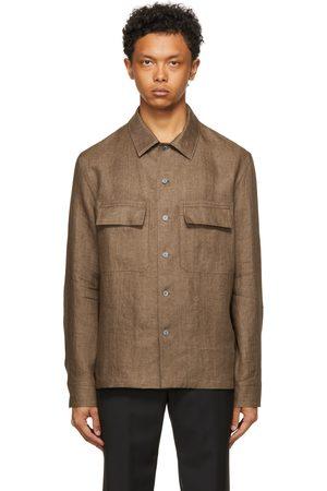 Ermenegildo Zegna Brown Pure Linen Shirt