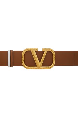 VALENTINO GARAVANI Reversible Brown & White VLogo Belt