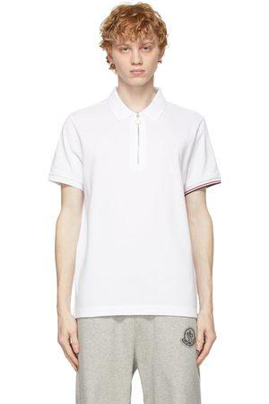 Moncler White Tricolor Logo Zip Polo