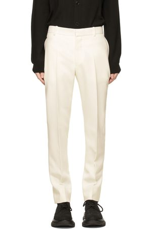 Alexander McQueen White Wool Cigarette Trousers