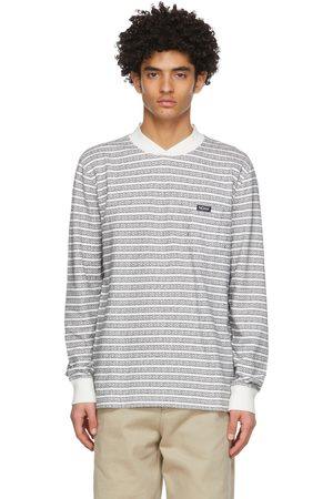 Noah NYC Heren Sweaters - White & Black Jacquard Knit Sweatshirt