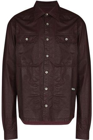 Rick Owens Waxed effect buttoned shirt jacket
