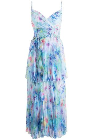 Marchesa Notte Tiered watercolour-print dress