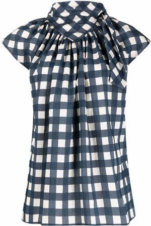 Victoria Victoria Beckham Checked cap-sleeve blouse