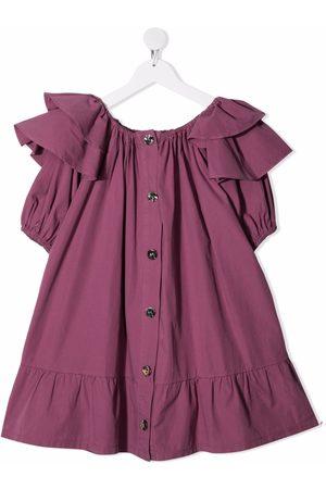 Le pandorine Ruffle short-sleeve dress