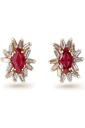 Suzanne Kalan 18kt rose gold One of A Kind diamond and ruby stud earrings