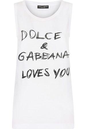 Dolce & Gabbana Dames Tanktops - Slogan-print sleeveless top