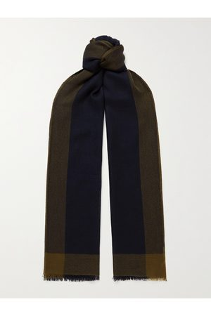 Loro Piana Heren Sjaals - Fringed Checked Brushed-Cashmere Scarf