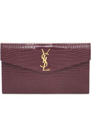 Saint Laurent Dames Clutches - Medium Envelope Embossed Leather Pouch
