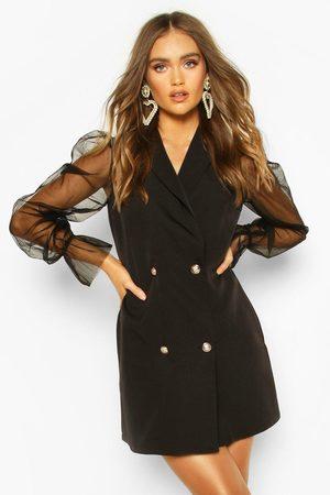 Boohoo Dames Feestjurken - Organza Sleeve Button Detail Blazer Dress