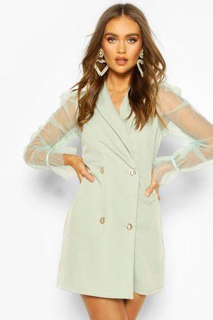 Boohoo Organza Sleeve Button Detail Blazer Dress