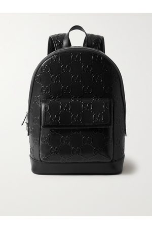 Gucci Logo-Embossed Perforated Leather Backpack