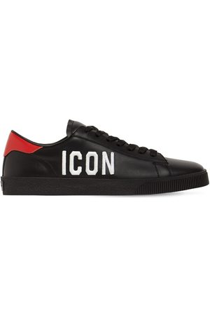 Dsquared2 Boxer Icon Print Leather Low Sneakers