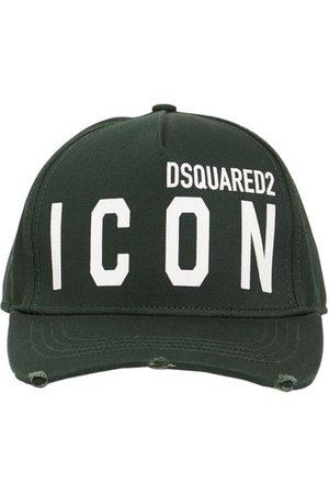 Dsquared2 Heren Petten - Icon Flocked Cotton Gabardine Cap