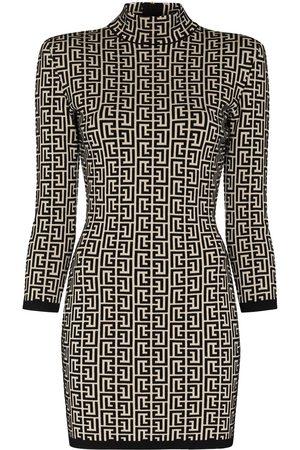 Balmain Dames Gebreide jurken - Monogram-jacquard knitted mini dress