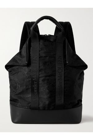 Alexander McQueen Heren Rugzakken - Leather and Logo Webbing-Trimmed Embroidered Nylon Backpack
