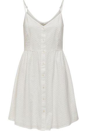 ONLY Dames Mouwloze jurken - Geborduurde Jurk Dames White