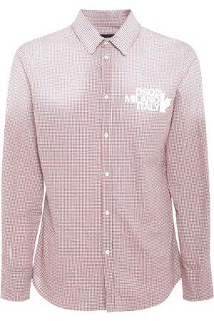 Dsquared2 Heren T-shirts - Logo Print Micro Check Cotton Shirt