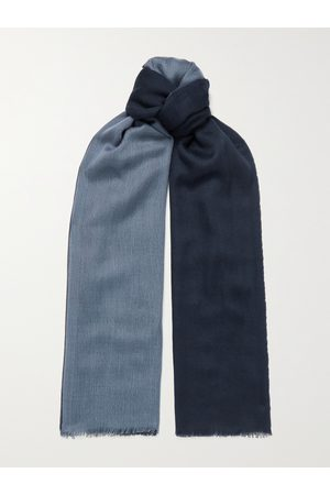 Loro Piana Heren Sjaals - Fringed Colour-Block Cashmere and Silk-Blend Scarf