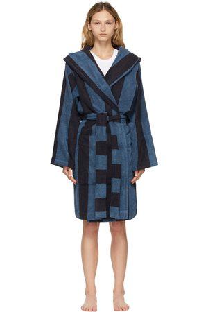 Tekla Navy & Blue Striped Hooded Bathrobe