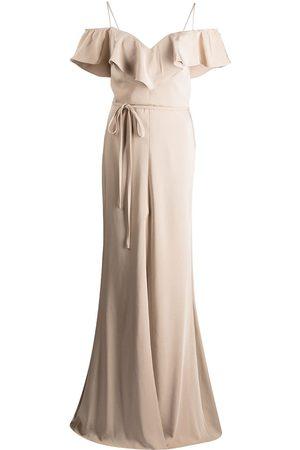 Marchesa Notte Ruffle-trim floor-length gown