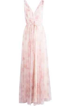 Marchesa Notte Floral-print V-neck gown