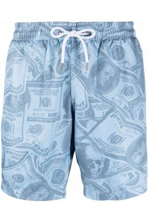 Philipp Plein Heren Shorts - Dollar-print swimming shorts