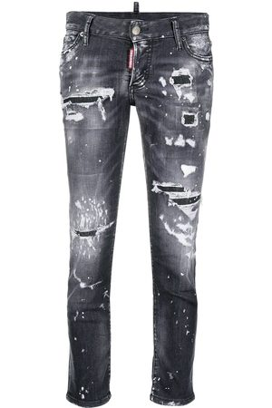 Dsquared2 Dames Skinny - Distressed-effect cropped skinny jeans