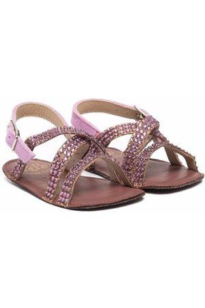 PèPè Crystal-embellished leather sandals