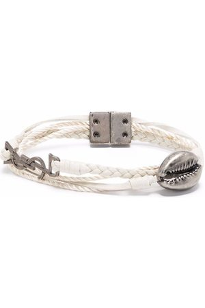 Saint Laurent Shell logo-plaque braided bracelet