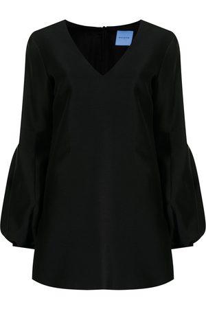 Macgraw Puff-sleeve V-neck minidress