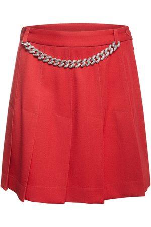 GIUSEPPE DI MORABITO Pleated Wool Flannel Mini Skirt W/chain