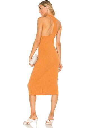 LINE & DOT Lori Asymmetrical Ribbed Midi Dress in