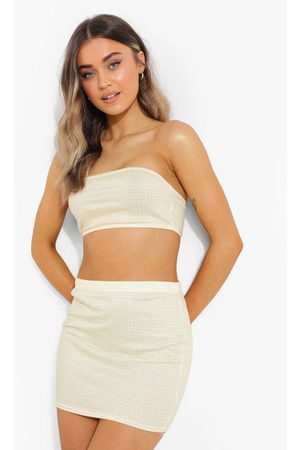 Boohoo Gingham Bandeau Top En Mini Rokje