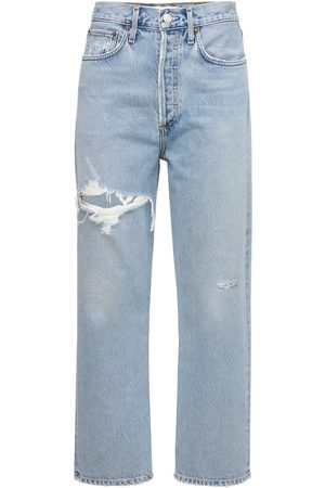 AGOLDE 90's Crop Distressed Straight Jeans