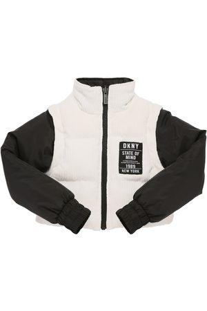 DKNY 2-in-1 Logo Cropped Puffer Jacket & Vest