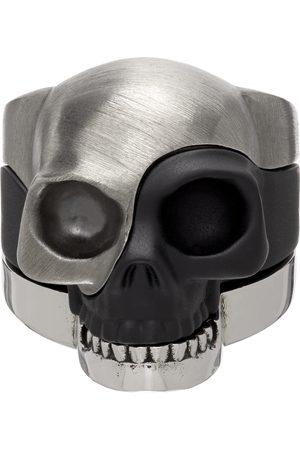 Alexander McQueen Heren Ringen - Silver & Black Divided Skull Ring