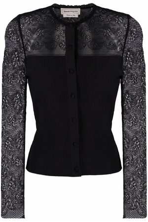 Alexander McQueen Lace ribbed-knit cardigan