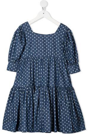 Piccola Ludo Polka dot-print tiered dress