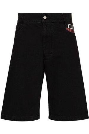 RAF SIMONS Patch straight-leg denim shorts
