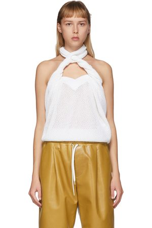 Givenchy White Open Knit Halter Top